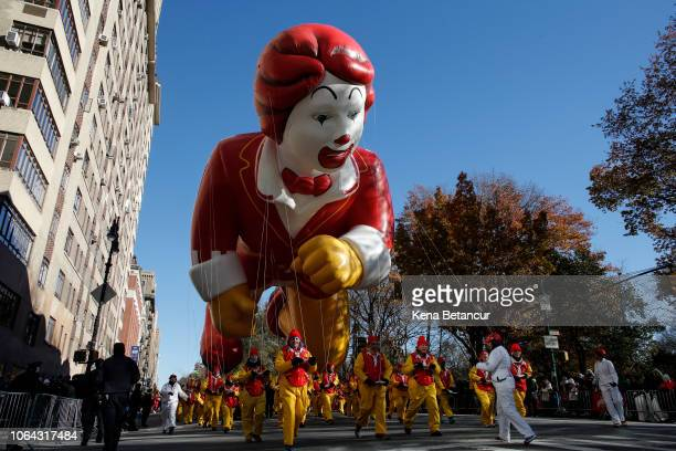 A balloon of Ronald McDonald floats during the 92nd annual Macy's Thanksgiving Day Parade on November 22 2018 in New York City