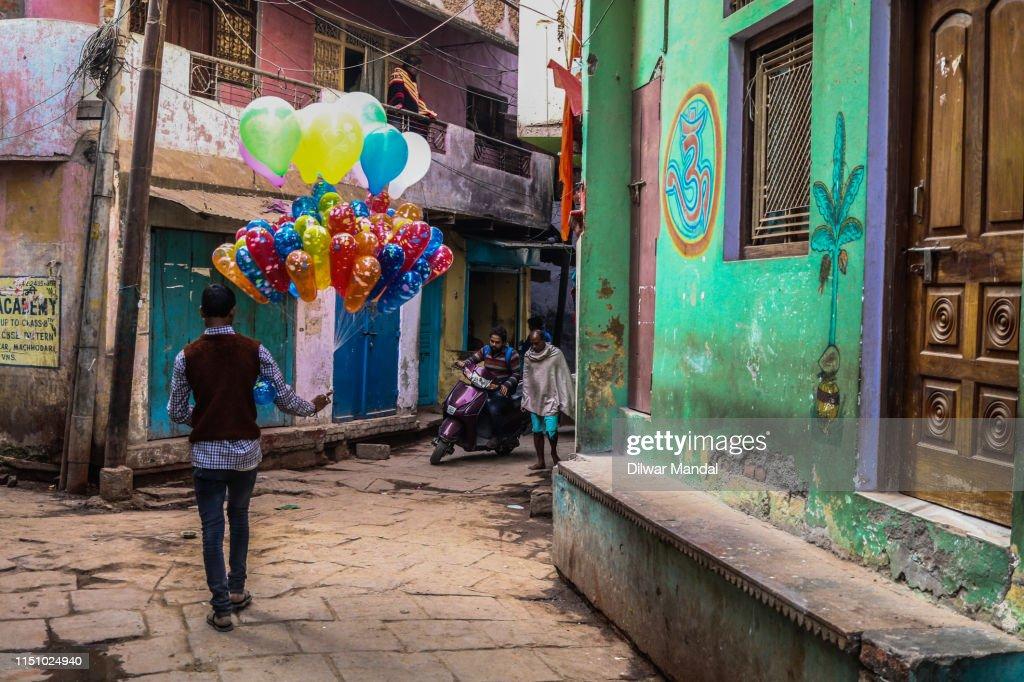 A Balloon Seller At Varanasi : Stock Photo