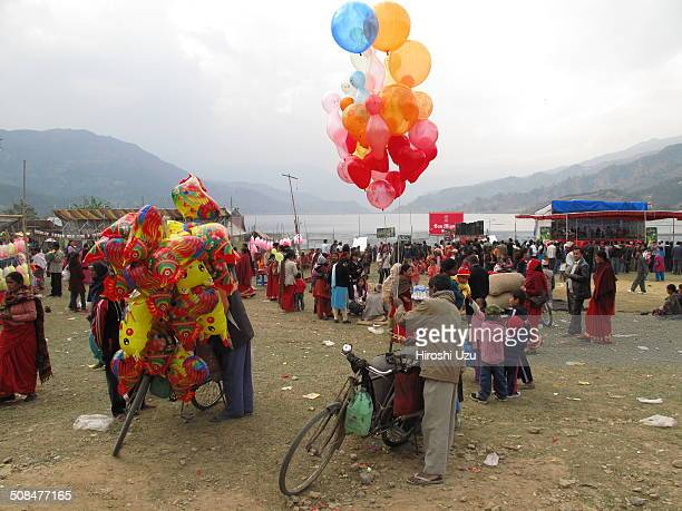Balloon Seller of New Year Festival, Lakeside, Pokhara, Nepal, January, 2009.