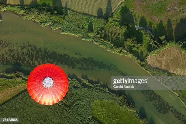 Bavaria, Germany, balloon trip over green landscapes, aerial view