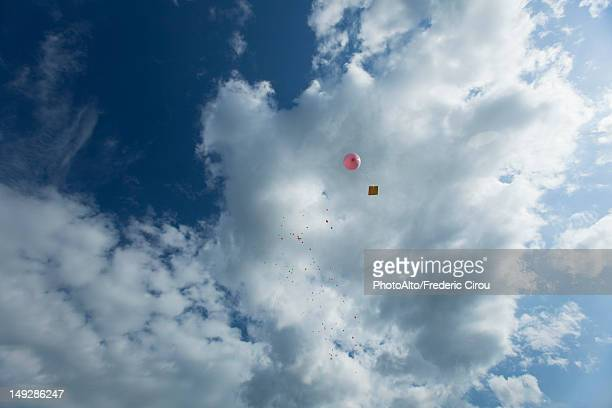 Balloon with message attached to it floating in sky