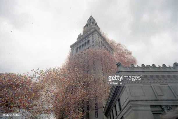 Balloons, 1.5 million of them, curl around the Terminal Tower Building during Balloonfest '86 sponsored by the United Ways Services of Cleveland. The...