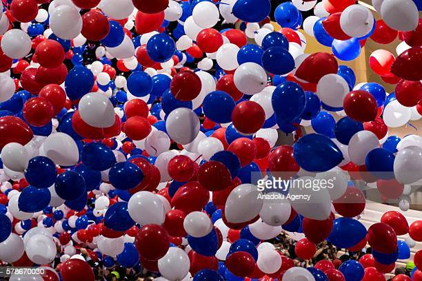 Balloons and confetti drop from the ceiling of Quicken Loans Arena to celebrate the end of the 2016 Republican National Convention and the nomination...