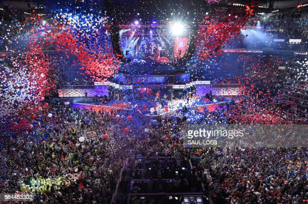 TOPSHOT Balloons and confetti fall following a speech by Democratic presidential nominee Hillary Clinton after accepting the nomination during the...