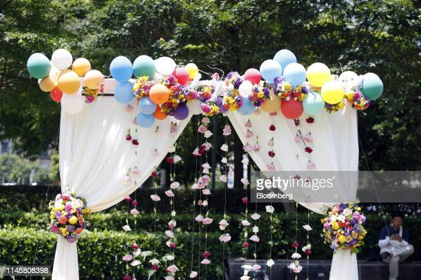 Balloons and floral decorations are displayed at a pro same-sex marriage party organized by the Taipei City government and Marriage Equality...