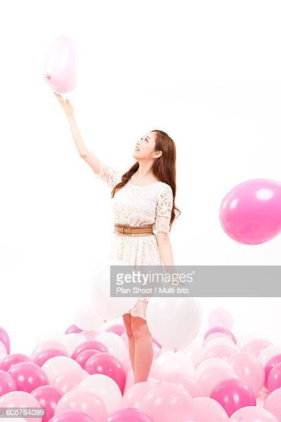 Balloons and woman