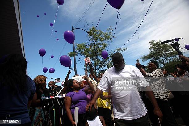 Balloons are released during a prayer vigil for Nykea Aldridge outside Willie Mae Morris Empowerment Center on August 28 2016 in Chicago Illinois...