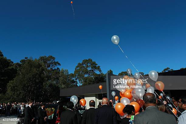Balloons are released following the funeral service for executed Bali nine member Myuran Sukumaran at Dayspring Church Castle Hill on May 9 2015 in...