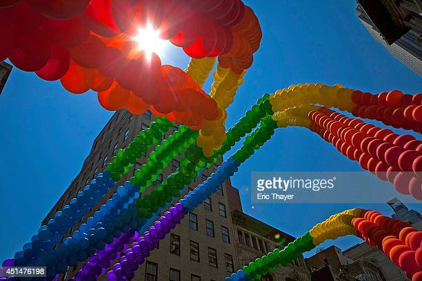 Balloons are seen down 5th Avenue during the 2014 Gay Pride March on June 29 2014 in New York City Thousands of marchers attended the parade route...