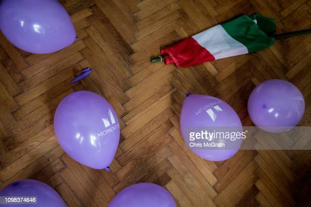 Balloons are seen next to a Hungarian flag at the Momentum offices ahead of a antigovernment protest on January 19 2019 in Budapest Hungary Momentum...