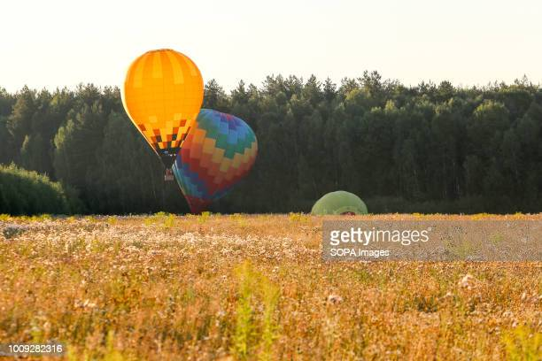 Balloons are seen taking off The Aeronautics championship takes place in the Nizhny Novgorod region 14 teams from Russia and Germany participate in...