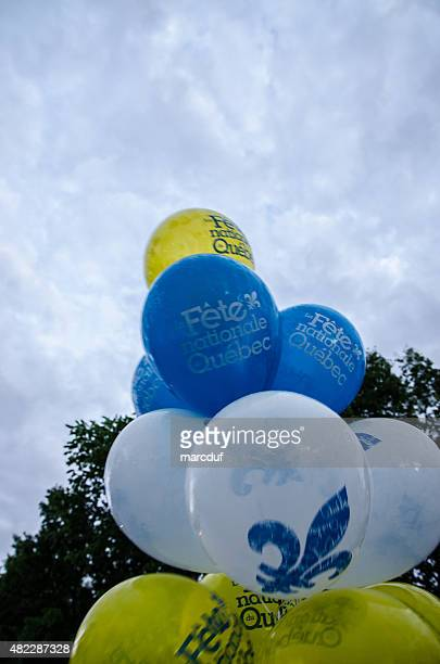 balloons celabrating quebec day - national holiday stock pictures, royalty-free photos & images