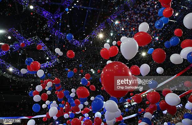 Balloons drop after Republican presidential candidate, former Massachusetts Gov. Mitt Romney accepted the nomination during the final day of the...