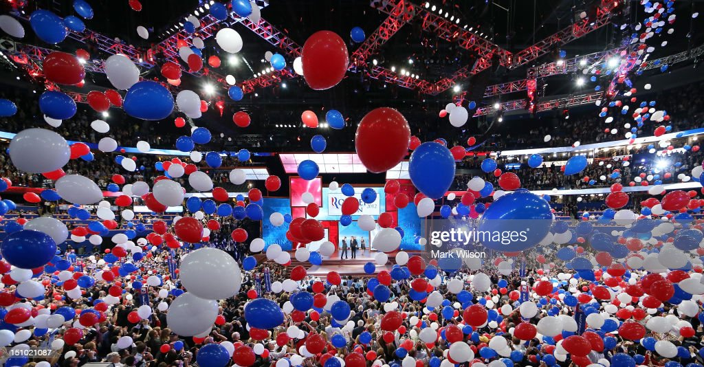 Balloons drop as Republican presidential candidate, former Massachusetts Gov. Mitt Romney and Republican vice presidential candidate, U.S. Rep. Paul Ryan (R-WI) take the stage after accepting the nomination during the final day of the Republican National Convention at the Tampa Bay Times Forum on August 30, 2012 in Tampa, Florida. Former Massachusetts Gov. Mitt Romney was nominated as the Republican presidential candidate during the RNC which will conclude today.