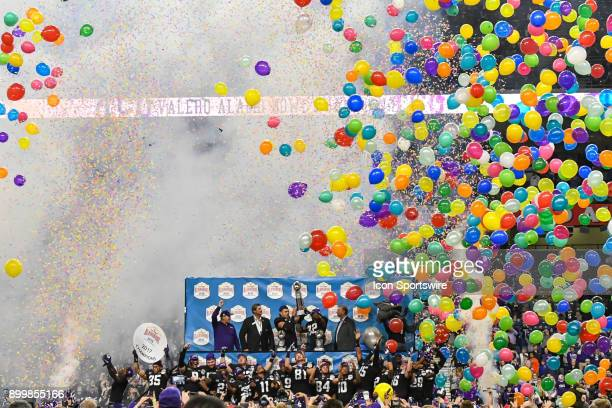 Balloons drop en masse following the Valero Alamo Bowl between the Stanford Cardinal and the TCU Horned Frogs on December 28 2017 at the Alamodome in...