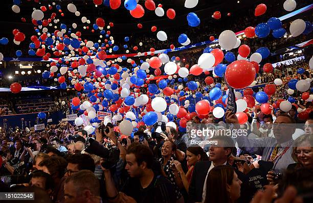 Balloons fall on delegates after Mitt Romney Republican presidential candidate unseen spoke at the Republican National Convention in Tampa Florida US...