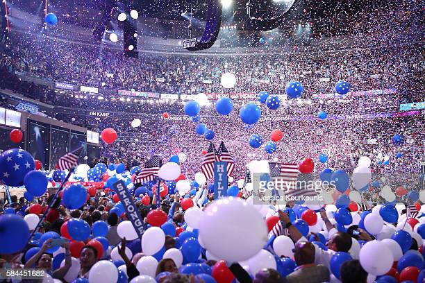 Balloons fall over delegates and attendees at the end of the fourth day of the Democratic National Convention at the Wells Fargo Center July 28 2016...