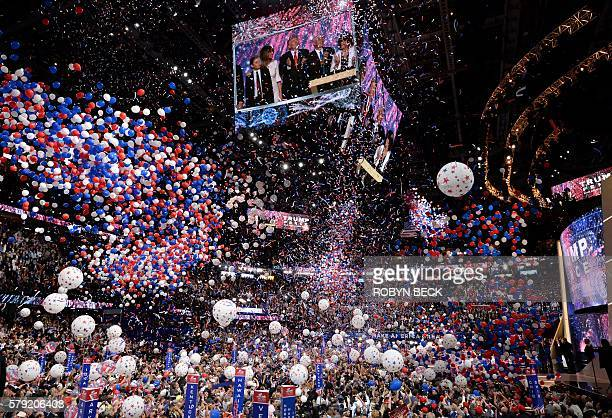 Balloons fall over the crowd as Donald Trump accepts the Republican Party's nomination as presidential candidate at the end of the Republican...