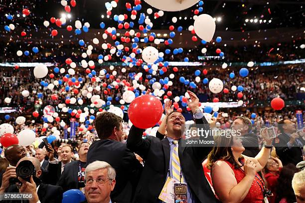 Balloons fall over the crowd at the end of the Republican National Convention on July 21 2016 at the Quicken Loans Arena in Cleveland Ohio Republican...