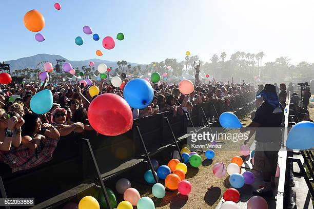 Balloons fly over festival goers as they watch Matt and Kim perform on day 3 of the 2016 Coachella Valley Music And Arts Festival Weekend 1 at the...
