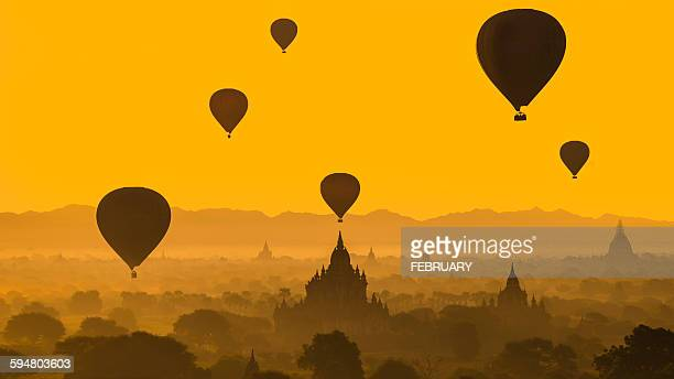 Balloons flying over Bagan, Myanmar