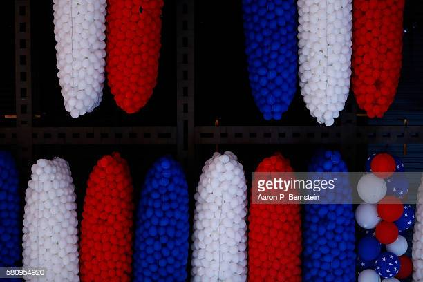 Balloons hang in the rafters on the first day of the Democratic National Convention at the Wells Fargo Center July 25 2016 in Philadelphia...