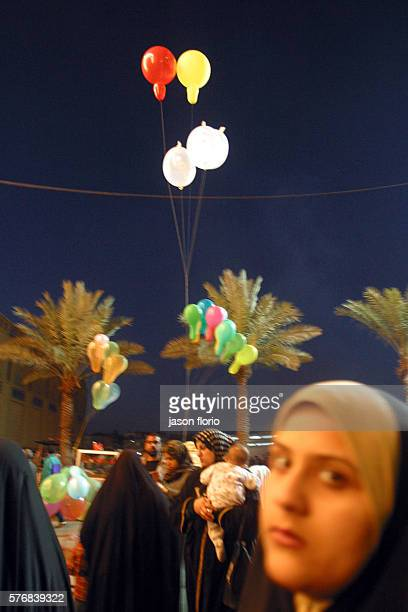 Balloons hover over the Khadimiya Mosque Photo by Jason Florio/Corbis