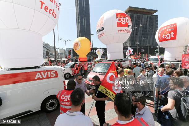 Balloons of French CGT union are displayed during a demonstration on April 19 2018 in Paris as part of a multi branch day of protest called by French...