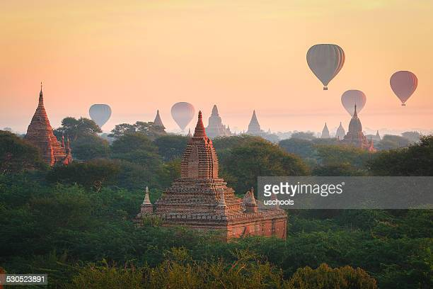 balloons over bagan, myanmar - myanmar stock pictures, royalty-free photos & images