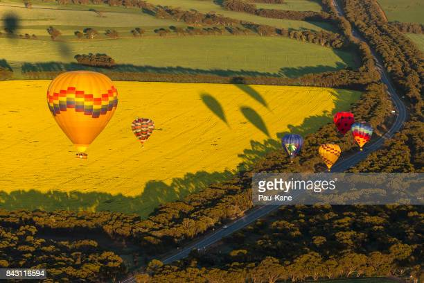 Balloons participate in the Australian National Ballooning Championships 2017 on September 6 2017 in Northam Australia The top placed pilots will be...