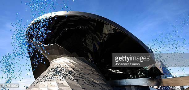 Balloons raise up in the air during the opening of the BMW World on October 17 2007 in Munich Germany BMW World is a representative architecturally...