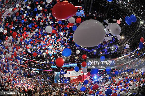 Balloons swirl in the air following Republican presidential candidate Mitt Romney's acceptance speech at the Tampa Bay Times Forum in Tampa Florida...