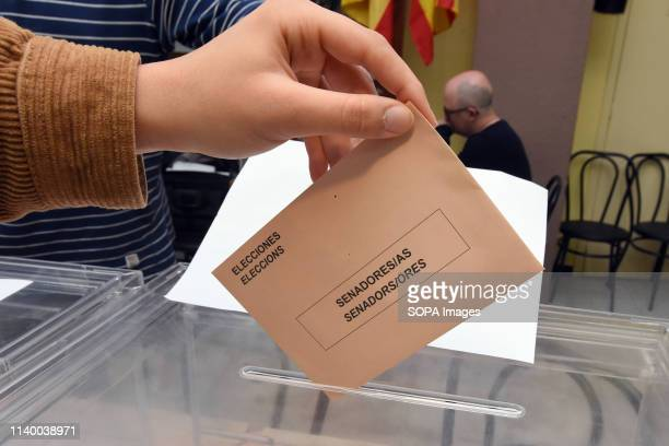 A ballot being cast at a polling station during the Spanish general elections in El Vendrell Tarragona Catalonia