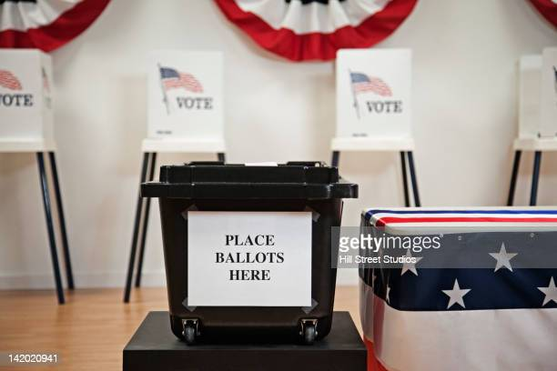 ballot box in polling place - ballot box stock pictures, royalty-free photos & images