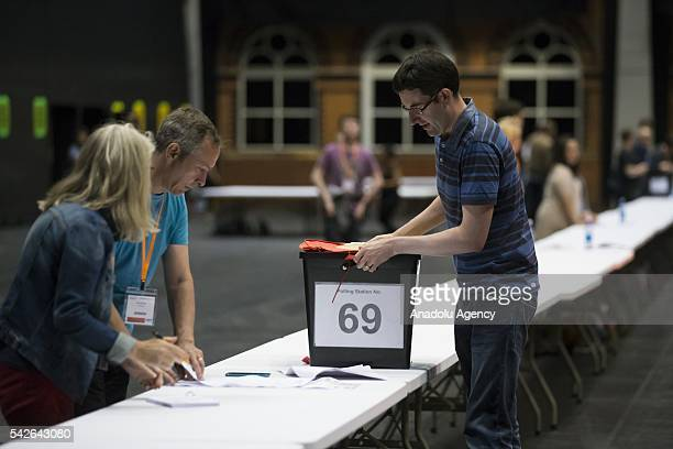 A ballot box is brought to be counted at the Manchester Central exhibition venue in the EU referendum on June 23 2016 in Manchester England The...