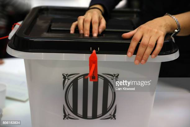 A ballot box is closed at a polling station as voting continues in the referendum on October 1 2017 in Barcelona Spain More than five million...