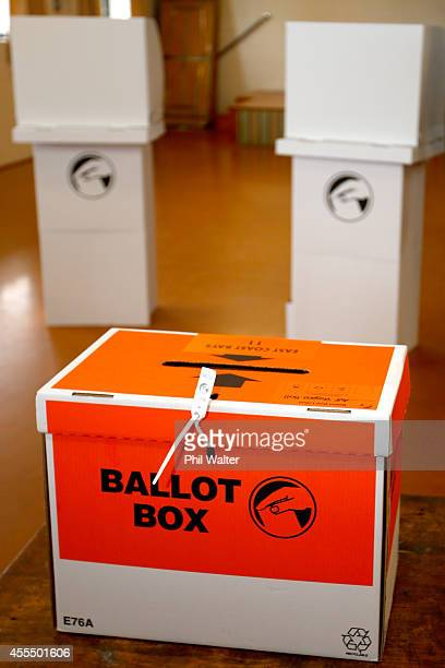 A ballot box is pictured on September 16 2014 in Auckland New Zealand The 2014 New Zealand general election will take place on Saturday 20 September...