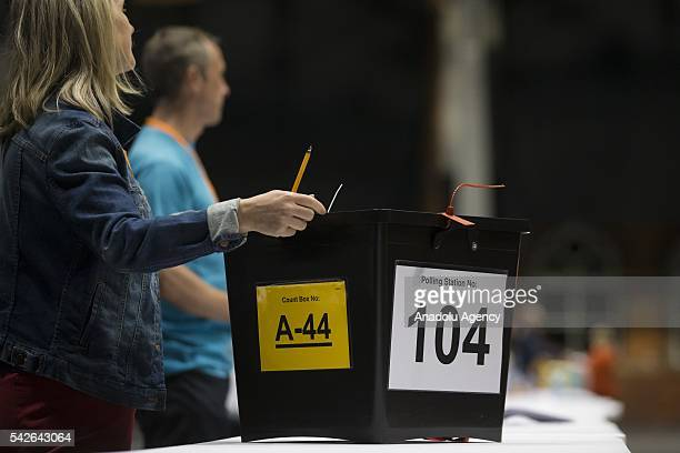 A ballot box is seen as counting takes place at the Manchester Central exhibition venue in the EU referendum on June 23 2016 in Manchester England...