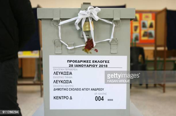 A ballot box is seen at a polling station in the capital Nicosia as Cypriots vote in the first round of the east Mediterranean island's presidential...