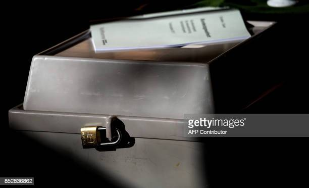 Ballot box is seen at a polling station in Wuerselen, western Germany, during general elections on September 24, 2017. Polls opened in Germany in a...
