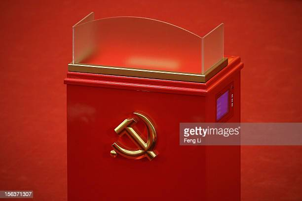 A ballot box is seen during the closing session of the 18th National Congress of the Communist Party of China at the Great Hall of the People on...