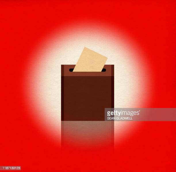 ballot box on red - vote leave campaign stock pictures, royalty-free photos & images