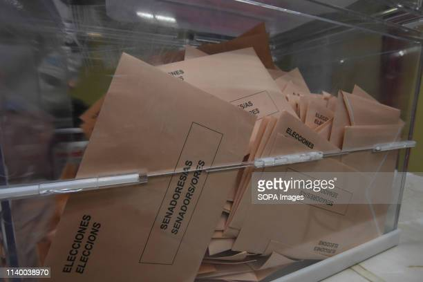 Ballot box seen with voting envelopes at a polling station during the Spanish general elections in El Vendrell Tarragona Catalonia