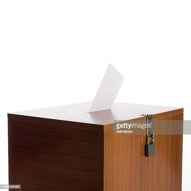 Ballot Box With Envelope And Padlock On White Background