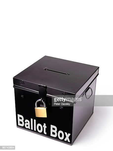 ballot box with padlock - ballot box stock pictures, royalty-free photos & images