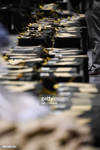 Ballot boxes are lined up as the count in the Irish referendum on the 8th amendment concerning the country's abortion laws takes place at the RDS...