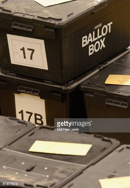 Ballot Boxes await to be opened during the Hartlepool ByElection at the Mill Hill Leisure Centre on September 30 2004 in Hartlepool England