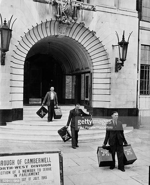 Ballot boxes being taken from Camberwell Town Hall to the polling stations before the General Election London July 1945
