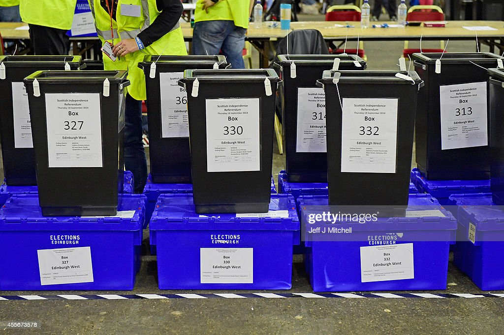 Ballot boxes for the Scottish Independence Referendum arrive