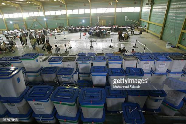 Ballot boxes of Iraq�s Parliamentary elections are seen on March 17 2010 at a counting center in Baghdad Iraq 79 percent of Iraq Parliamentary...